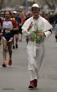 "Even the ""Pope"" ran the marathon. I think he was an anti-Pope because an hour into the race I saw him relieving himself in a bush."