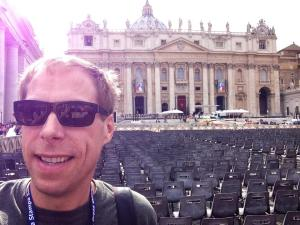St. Peter's Square is bustling, awaiting the millions here for the canonization of John Paul II and John XXIII