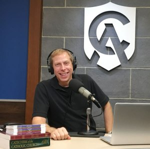 Patrick Novecosky takes a turn behind the host's mic in the Catholic Answers studio